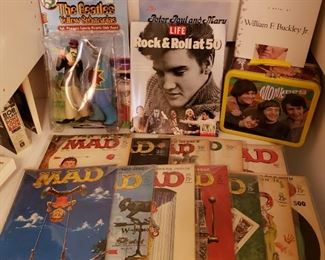 Elvis books, The Monkees lunch box and vintage Mad Magazines to view more photos of these items scroll down