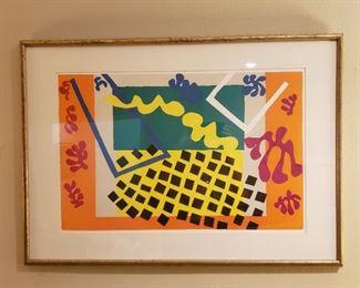 "Henri Matisse ""The Codomas"" (1943) stencil, label on back, 16  1/2 x 25 5/8"