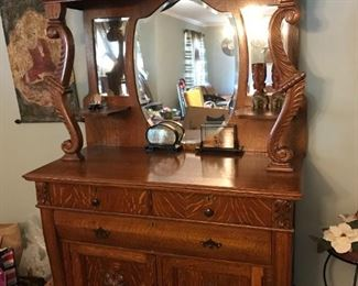 #11910-1920 Tiger strip wood China cabinet with original glass mirror beautiful carving and 3 drawers 2 doors  $1,400.00