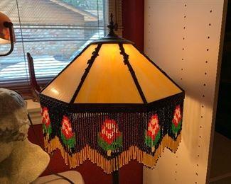 Vintage lamp with slag glass and fringe