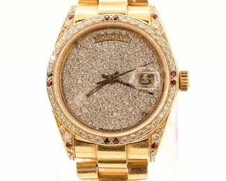 18k Rolex President with Diamonds