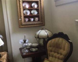 Mustache cups.Victorian ladies and gents carved chairs