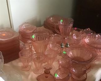 Huge collection of Adam pattern depression glass in pink