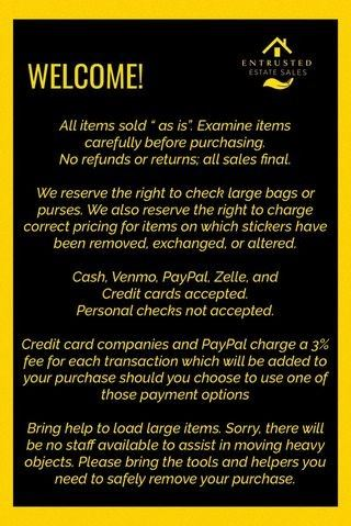 We'll be glad to see you at the sale ... here are a few things to keep in mind!