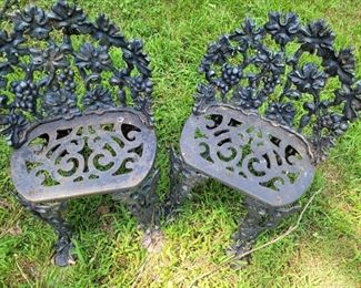 Set of cast iron garden chairs