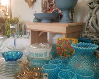 vintage glassware, housewares, decorative items. (many of these items have never been used. Please rescue them and take them home for a new and beautiful life)