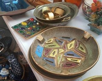 vintage housewares, including decorative items, ashtrays, etc. Even if we don't smoke inside anymore, these are beautiful.