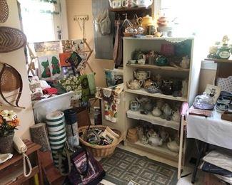 vintage housewares, teapots, baskets, linens, glassware. Mary Frances loved teapots.