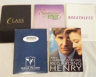 1004LOT OF FIVE MOVIE PRESS KITS. LOT INCLUDES CLASS, ROMANCING THE STONE, REGARDING HENRY, BREATHLESS, & SLEEPLESS IN SEATLE. ALL KITS COME W/ PRINTS, & PRODUCTION INFO.