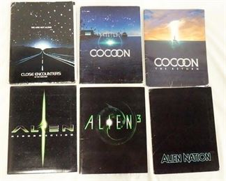 1005LOT OF SIX MOVIE PRESS KITS, LOT INCLUDES CLOSE ENCOUNTERS OF THE THIRD KIND WHICH CONTAINS 18 PRINTS INCLUDING ONE SIGNED, A 20 PAGE BOOKLET, & PRODUCTION INFO. LOT ALSO INCLUDES PRESS KITS FOR COCOON, & COCOON THE RETURN, ALIEN 3 & ALIEN RESURECTION, & ALIEN NATION. ALL KITS CONTAIN PRINTS, PRODUCTION INFO ETC. (ALIEN NATION KIT ONLY CONTAINS 8 PRINTS)