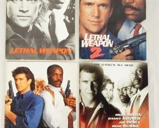 1007LOT OF FOUR LETHAL WEAPON MOVIE PRESS KITS FOR THE 1ST, 2ND, 3RD, & 4TH INSTALLMENTS. KITS CONTAIN STILLS FROM THE FILMS, PRODUCTION INFO, ETC.