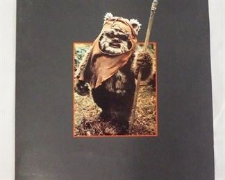10101983 STAR WARS RETURN OF THE JEDI; INTRODUCING THE EWOKS MOVIE PRESS KIT. KIT CONTAINS TWO COLOR PRINTS THREE BLACK & WHITE STILLS FROM THE FILM, PRODUCTION INFO & A 35MM PHOTO SLIDE.