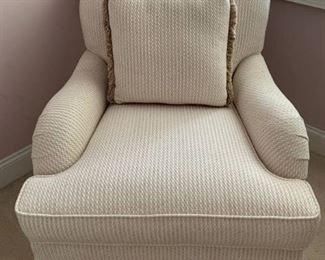 Dainty Skirted Tweed Arm Chair