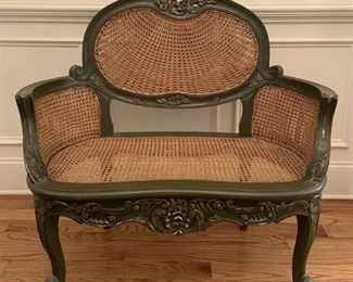 Forest Green Cane Bench