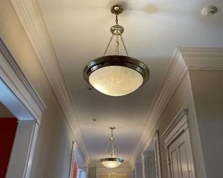 (5)  Cheval brass & faux alabaster chandeliers