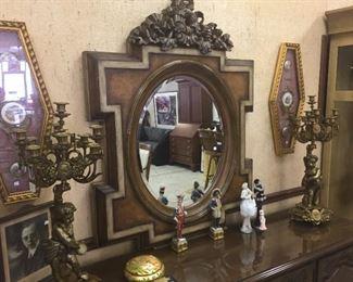 Bronze Candelabras, Wall mirror, Capodimonte 'Napoleans'