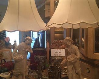 Pair Vintage 'Granitex' Figural Lamps