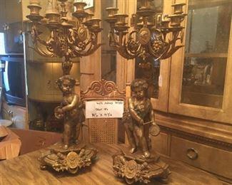 Pair Vintage Italian Bronze Candelabras