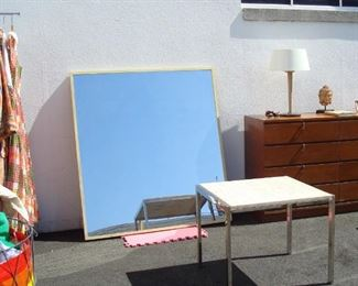 Large Square Mirror, Chrome and Travertine Marble End Table, Dresser Not available