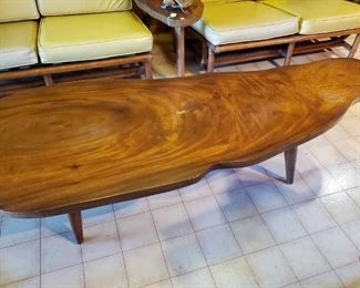 Stunning Free Form Koa wood coffee/cocktail table and end tables.