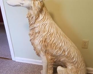 """#1 $700.00 - Large terracotta ceramic glazed dog, possibly Borzoi breed, stamped made in Italy - 41""""x42""""w"""