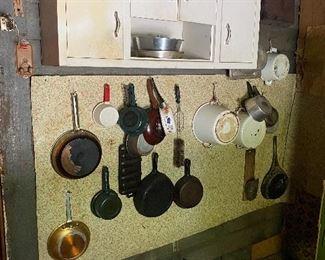 Vintage enamel metal kitchen cabinets, enamel cook pots