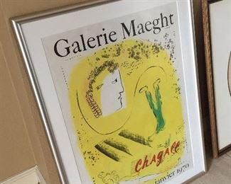Signed Chagall poster from  exhibition of his work in 1969/70.