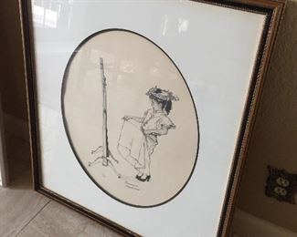 Signed Norman Rockwell Lithograph.