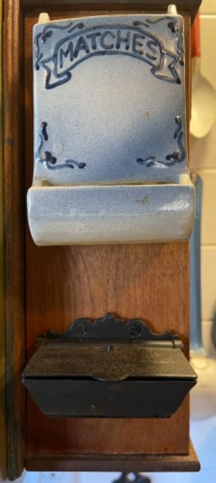 Antique pottery and cast iron match holders