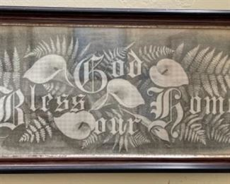 """Antique Victorian embroidery on punched paper, """"God Bless Our Home"""""""