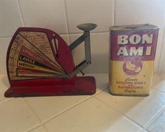 Antique scale and vintage Bon Ami box