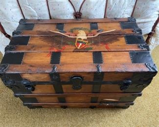 Antique steamer trunk with hand painted American eagle.