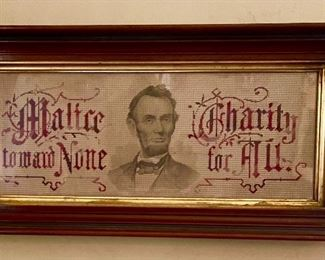 """RARE embroidered needlework sampler, with a print on linen of Abraham Lincoln that reads, """"Malice toward None, Charity to All"""""""
