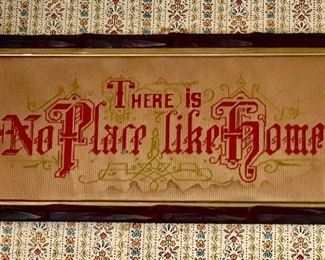 """""""There is no place like home"""" Victorian punched paper embroidery sampler in an antique criss cross frame"""