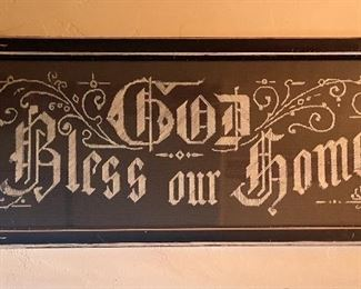 God Bless our Home c1900 embroidery