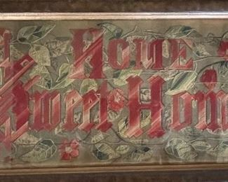 """""""Home Sweet Home"""" late 1800s punched paper embroidery"""