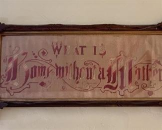 """Victorian """"What is a Home without a Mother"""" punched paper embroidery c1 880"""