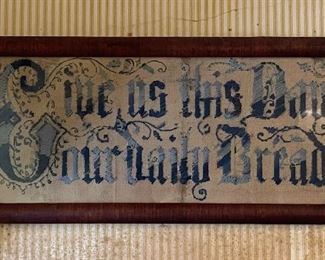 """C1880 punched paper embroidery, """"Give us This Day Our Daily Bread"""""""