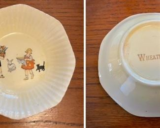 """This 1920s children's bowl was an advertising premium from Wheaties cereal. It's 6"""" diameter,"""