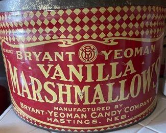 "Very large Antique advertising tin Bryant Yeoman Candy Company Vanilla Marshmallows, Hastings, Nebraska, 12""W x 7""H"
