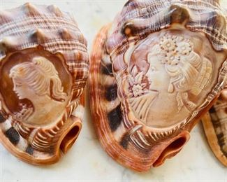 Vintage carved cameo into bullmouth red helmet shells - beautifully carved! Italy