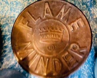 Vintage Flame Minder burner cover, rustic