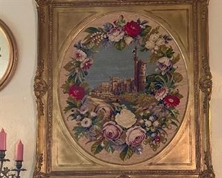 """Large, unusual 34"""" x 39"""" needlepoint in  gilt frame."""