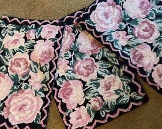 Hand hooked rose floral rugs