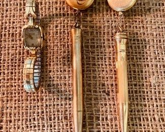 Hamilton ladies watch and 2 Wahl-Eversharp gold-filled pencils with pin-back brooches