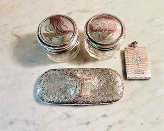 Sterling snuff bottle,  sterling eyeglass case, and 2 sterling lidded rouge pots