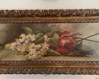 """1893 Oil painting on canvas dated and signed, 25"""" x 22"""", canvas 21"""" x 8"""""""