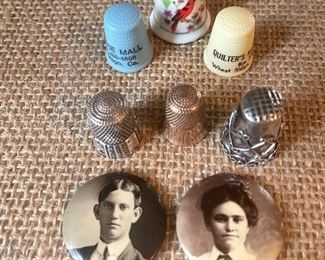 Thimbles, sterling 14k gold and advertising thimbles and two miniature