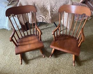 Pair of child's rockers, maple by Stone & Nichols, signed