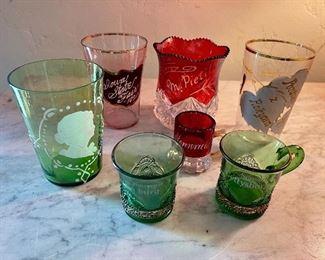 Turn of the century 1900 souvenir miniature mugs and glasses